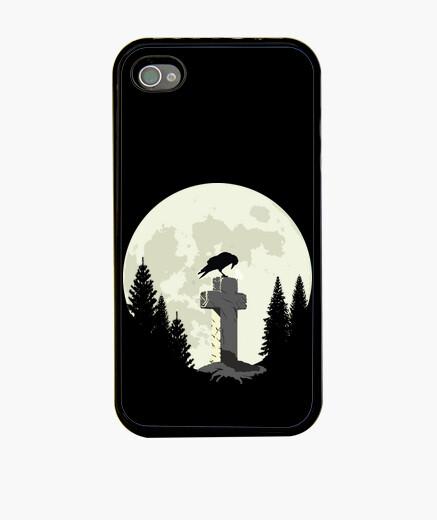 Coque iPhone corbeau sur une croix au clair de lune