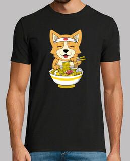 Corgi Hund der Ramen isst