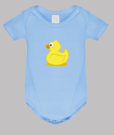 corpo del bambino anatra, cielo blu