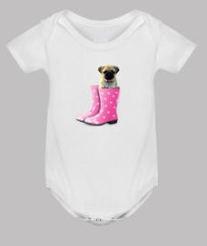 corpo del bambino, carlino e stivali rosa acqua