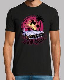 coucher de soleil voiture de course rétro vintage