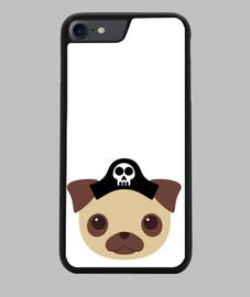 couverture d'iphone 7/8, noir design pirate chien