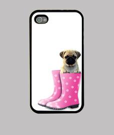 couvrir iphone 4, roquet et des bottes roses eau