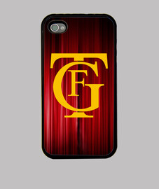 cover iphone 4, disegno logo theater fallisce in giallo