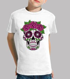 crâne catrina fleurs couleur