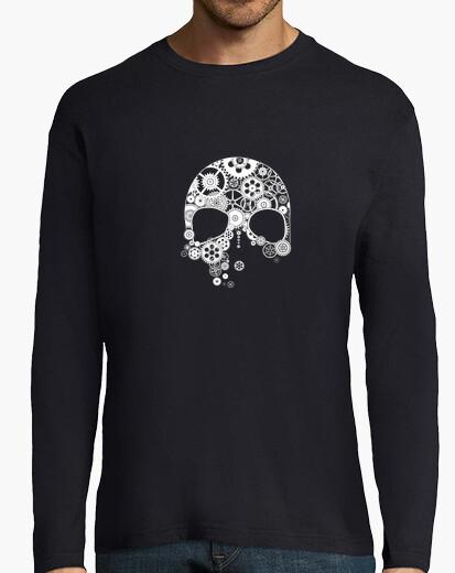 Tee-shirt crâne d39engrenages sur blanc