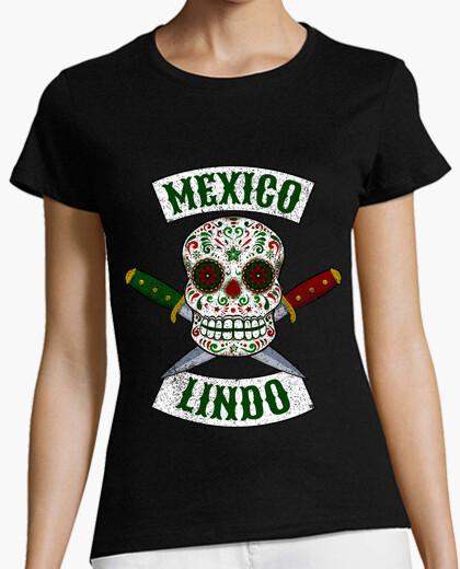 Tee-shirt crâne mexicain avec des couteaux mignon mexique