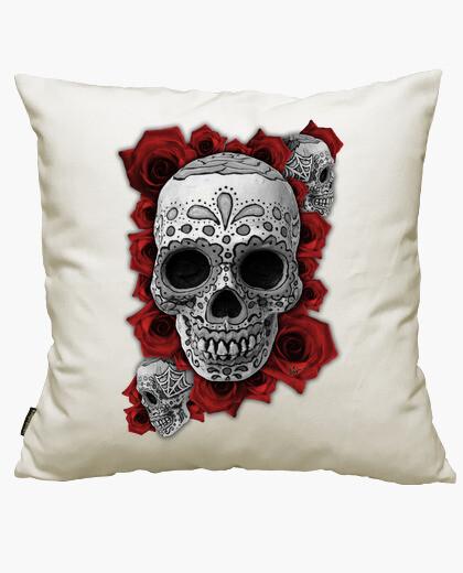 Housse de coussin Crâne mexicain n roses !!!