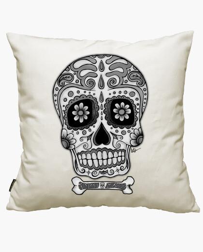 Housse de coussin Crâne Mexicain noir et blanc  !!!