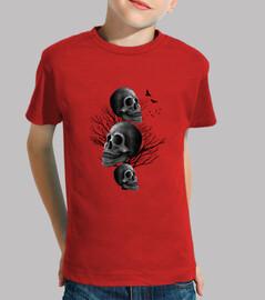 crâne noir - garçon manches courtes, rouge