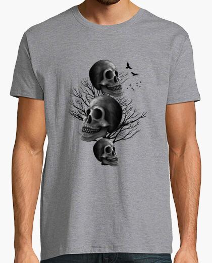 Tee-shirt crâne noir - homme, manches courtes, gris chiné, qualité extra