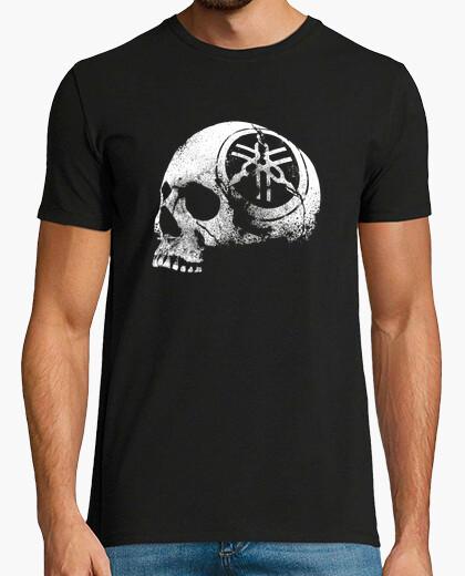 Camiseta cráneo casco-motor-logo-erosionado-motocicleta