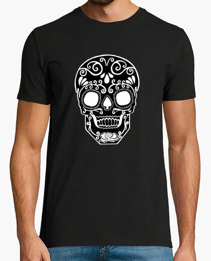 Camiseta cráneo del azúcar blanco y negro