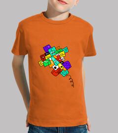 crazy airplane, black version. boy, short sleeve, orange