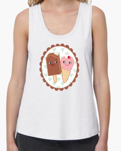 Tee-shirt crème glacée amoureux kawaii