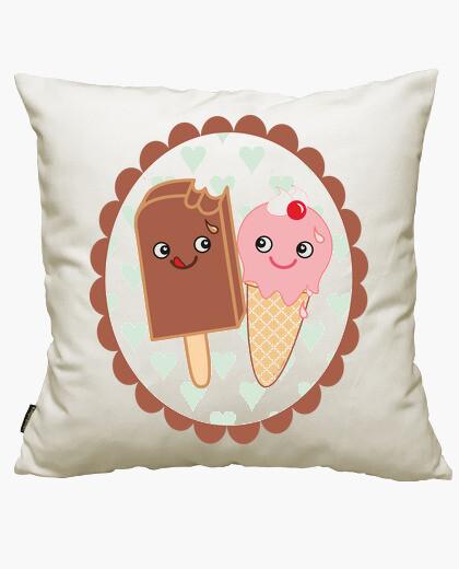 Housse de coussin crème glacée amoureux kawaii