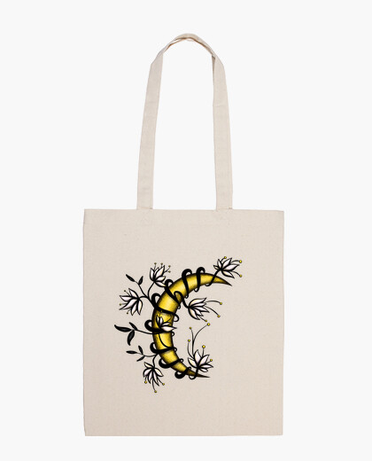 Crescent Moon In Flowers Tattoo Style bag