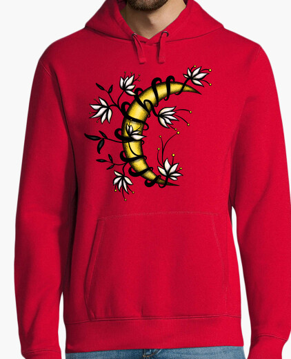 Crescent Moon In Flowers Tattoo Style hoodie