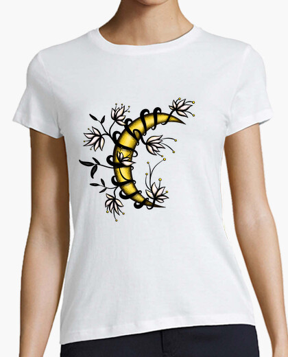 Crescent Moon In Flowers Tattoo Style t-shirt