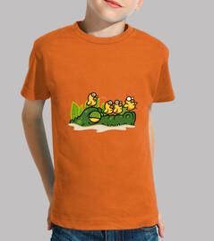 crocodile et poussins