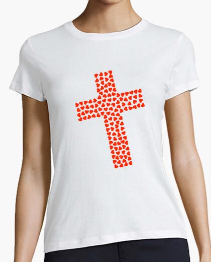 Camiseta cruz catolica corazones