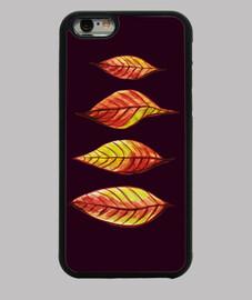 cuatro hojas de otoño rojas y amarillas
