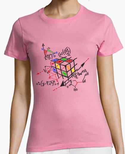 Camiseta cubo rubick esquema negro