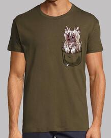 cucciolo cinese crestato da taschino - camicia da uomo
