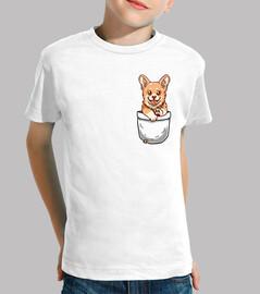 cucciolo di corgi tasca - camicia per bambini