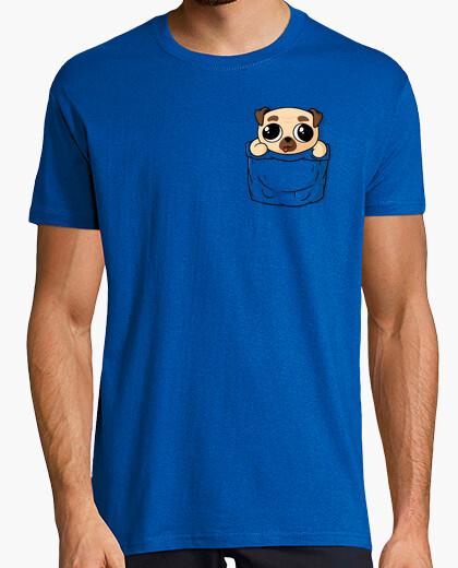 T-shirt cucciolo tasca pug