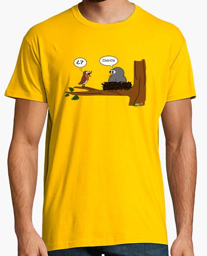 Camiseta cuco parasitando petirrojo
