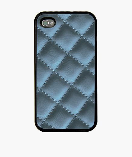 Funda iPhone cuero acolchado (azul metálico)