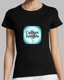 Cultura Seriéfila Logo BN Mujer, manga corta, negra, calidad premium