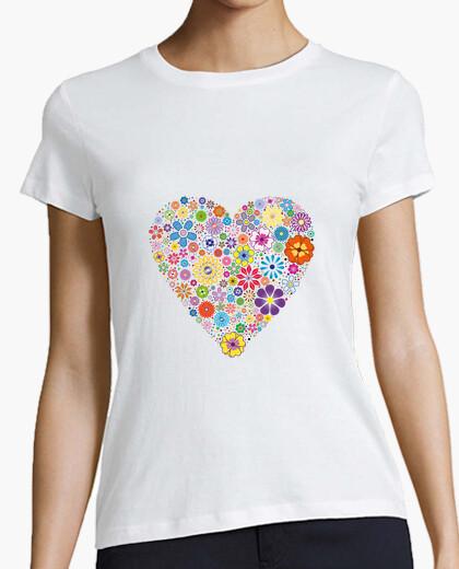 T-shirt cuore di fiori per donna