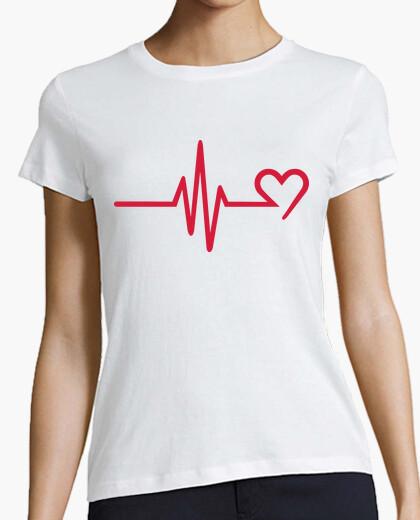 T-shirt cuore di frequenza rosso