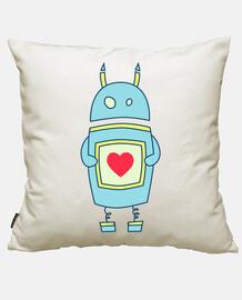 cute cartoon robot holding heart