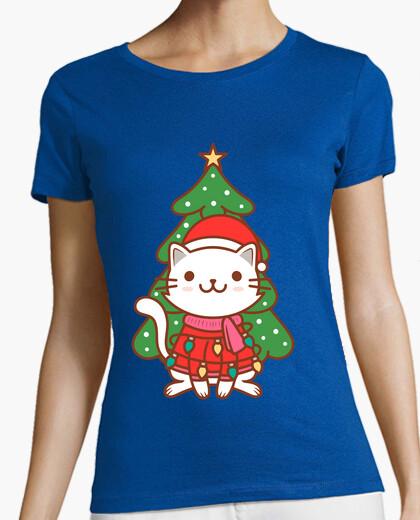 Cute christmas cat illustration t-shirt