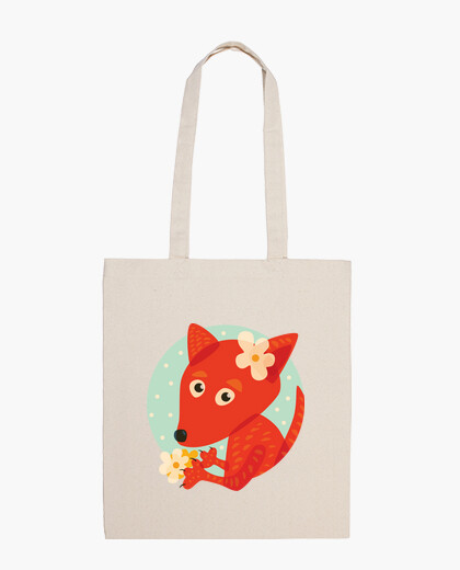 Cute fox and flowers bag