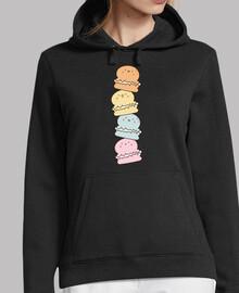 Cute macarons jersey con capucha, negro