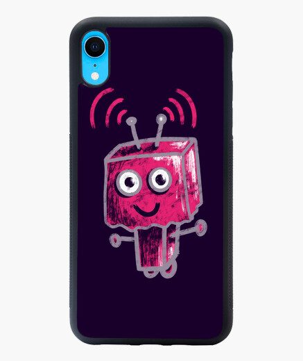 Cute Pink Robot With Paper Bag Head iphone...