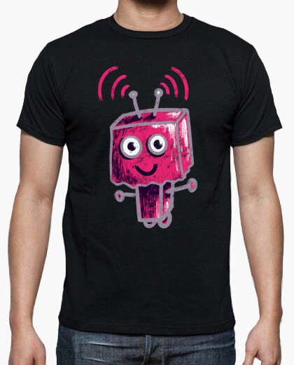 Cute Pink Robot With Paper Bag Head t-shirt