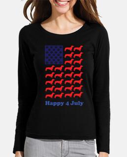 dachshund usa bandera día de la indepen