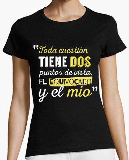 (dark background) woman views t-shirt