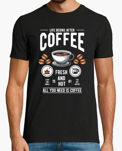 T-Shirt Das Leben beginnt nach dem Kaffee