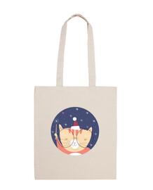 de navidad del gato ... creer en la magia! bolsa de algodón