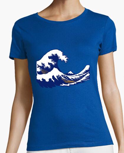 Camiseta de onda de la onda hokusai fuji impresión