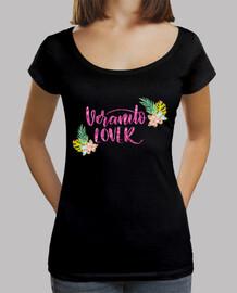 Deep collar women T-Shirt & Loose Fit, Black