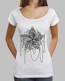 Deep collar women T-Shirt & Loose Fit, White