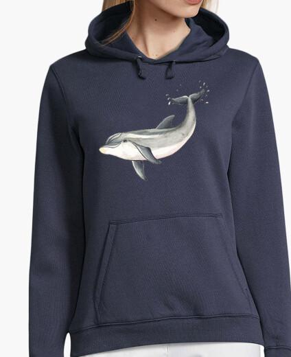 Sudadera Delfin - Mujer, jersey con capucha, azul marino