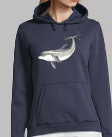 Delfin - Mujer, jersey con capucha, azul marino